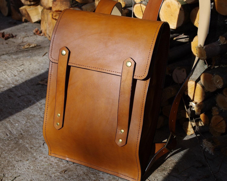 Leather Backpack Large Rucksack Style Hard Leather Light