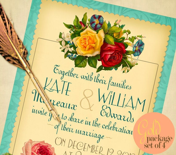 Victorian Roses Wedding Invitation Suite PRINTABLES