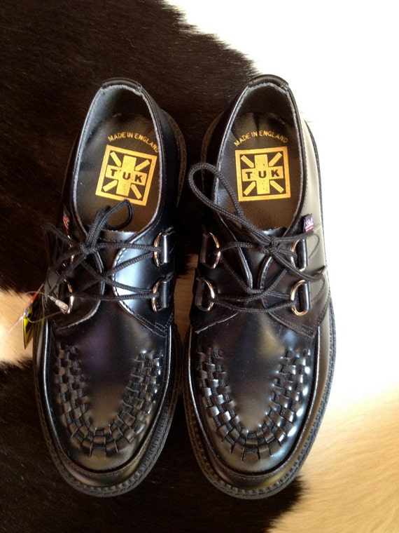 Vintage deadstock 1990's black TUK Creepers shoes upper leather - UK 6 - US 8 W - 39 unisex