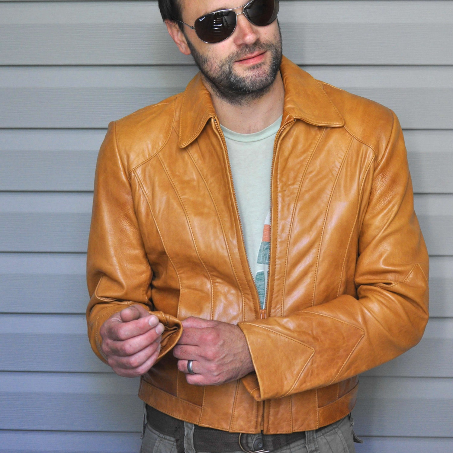 Mens light brown leather jacket – New Fashion Photo Blog
