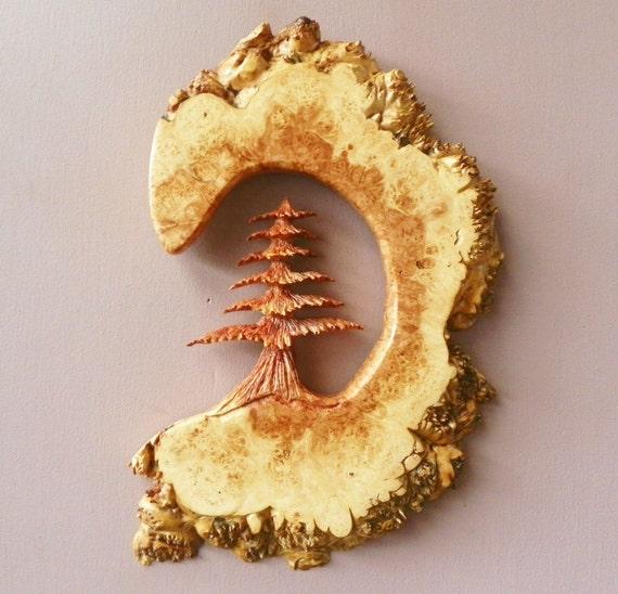 Beautiful  hand carved maple burl evergreen tree