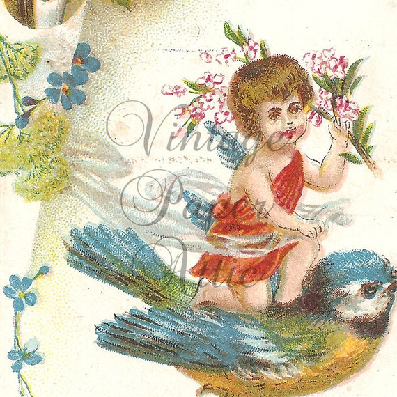Vintage French Die Cut Chromo Trade Card Little Angel Riding Blue Bird from Vintage Paper Attic