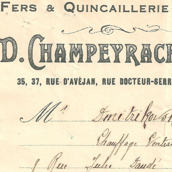Vintage French Invoice Document Pretty Typography and Handwriting from Vintage Paper Attic