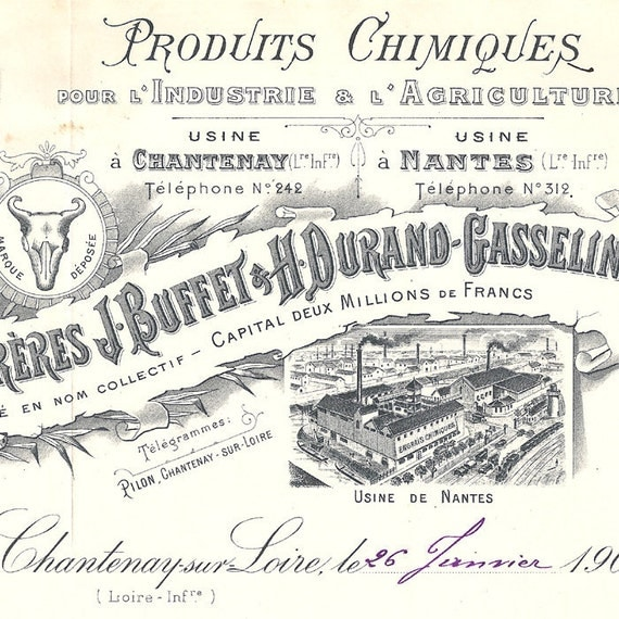 1903 Antique French Document Invoice Fantastic Engravings Typography and Handwriting from Vintage Paper Attic