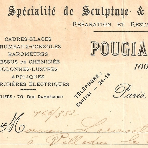 French Document Vintage Invoice Fantastic Handwriting and Typography from Vintage Paper Attic