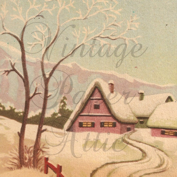 Vintage French Christmas Postcard Village Snow Scene from Vintage Paper Attic