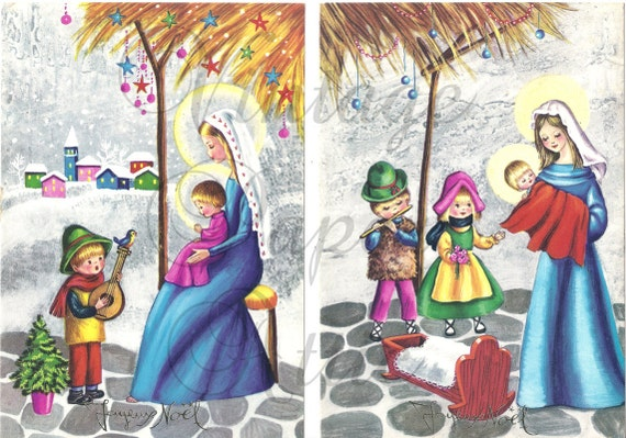Baby Jesus and Mary with Child Musicians Vintage French Christmas Postcards Lot of 2 Joyeux Noel from Vintage Paper Attic