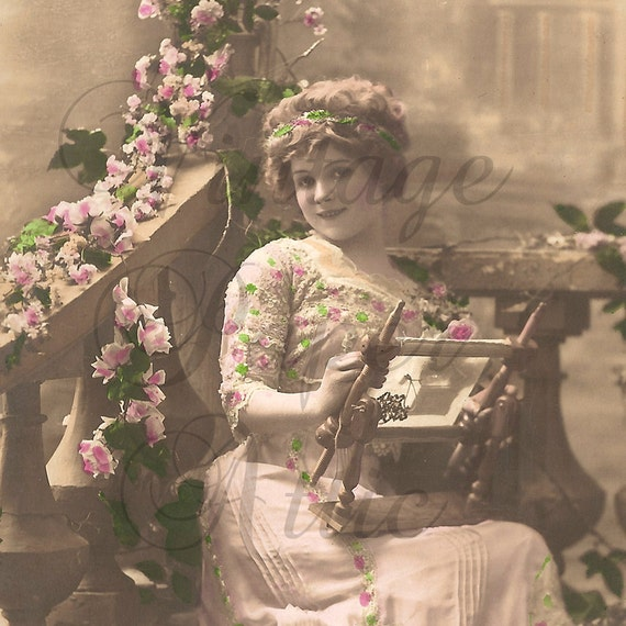 Antique French Tinted Photo Postcard Pretty Woman with Embroidery Frame RPPC from Vintage Paper Attic