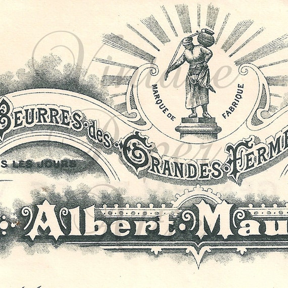 Antique French Document Invoice Pretty Letterhead and Typography from Vintage Paper Attic