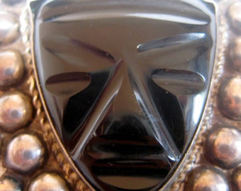 Brooch Mexican Mask Vintage Sterling Silver Pre 1950s