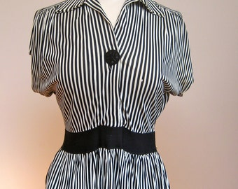40s-50s Rare Black White Strip Vintage Ladies Top As Is