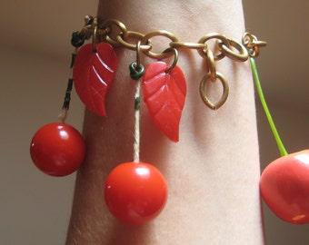 Rare Red Bakelite Catalin Celluloid Cherries Bracelet AS IS