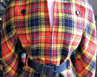 1980s Valentino Boutique Red Plaid Jacket with Belt