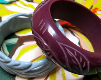 Purple Blue Carved Vintage bangles