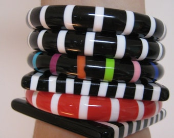 Striped bangles - not bakelite - six sold separately