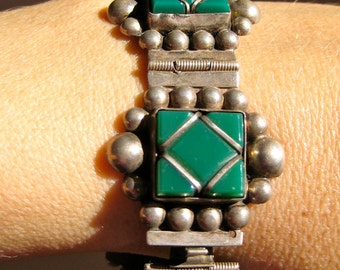 Bracelet Mexican Collectible Silver Link Green Stone