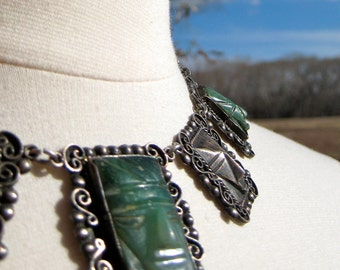 Necklace Mexican Collectible Silver Link Green Stone