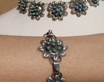 Necklace Bracelet Vintage Mexican Silver Turquoise