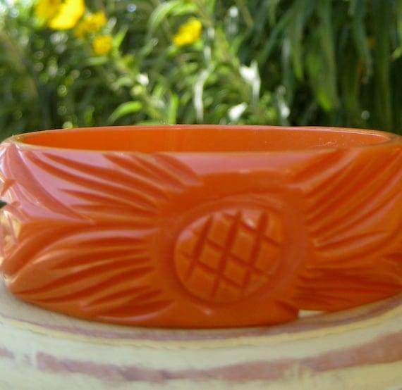 RESERVED MONET PATRICK Carved Pumpkin Orange Flower Bakelite Bangle