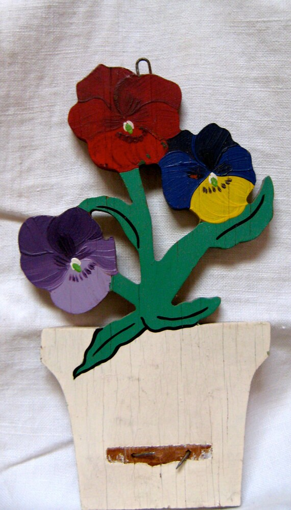 Hand painted Wall Hanging Pansies 1940s era AS IS