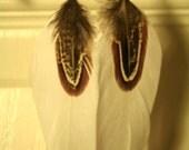 FREE SHIPPING White Pheasant earrings