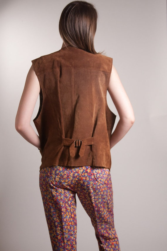 FREE SHIPPING Brown Leather Vest Reversible