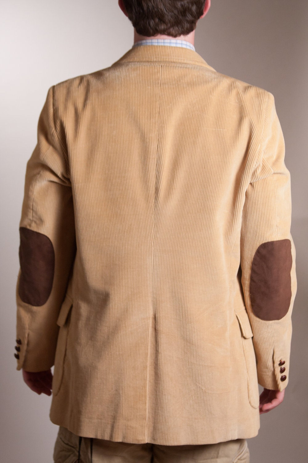 Men S Tan Curdoroy Jacket With Leather Elbow Pads