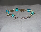 Blue Moon Wire Wrapped Glass Bead Anklet / Bracelet