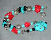 Southwestern Blue and Red Turquoise Necklace Laced with Onyx and Silver