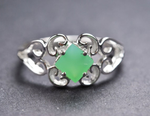Jade ring, sterling silver ring, gemstone ring, square green stone