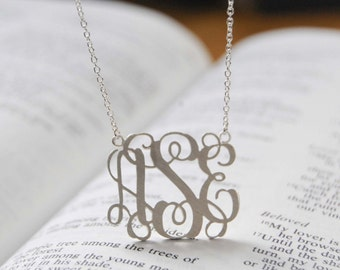 Monogram Necklace-1inch Personalized Initial Pendant wedding monogram gift//monogram pendant//monogram jewelry