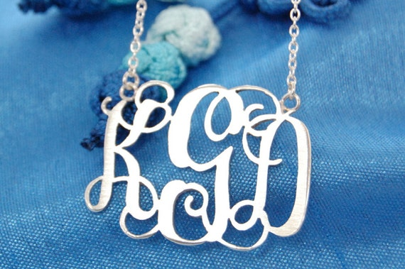 Monogram Necklace-1.75 inch sterling silver pendant