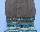 Scandinavian Sweater Skirt with Ruffle and Lace in Turquoise and Brown Womens M