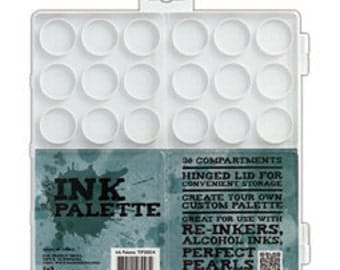 Tim Holtz Ranger Ink Palette Hinged Lid - 36 Empty Compartments for Storage