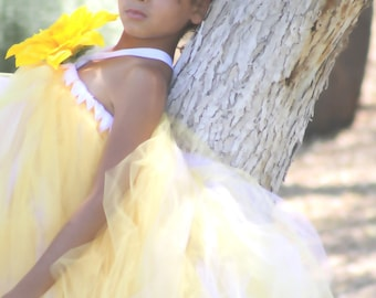 Everlasting summer- yellow and white very full tulle/tutu dress with a detachable flower/hair clip for weddings, flower girls, photoprop