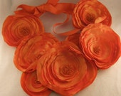 Halloween Sale  25% Discount - Tangerine Taffeta & Beads Bib Necklace