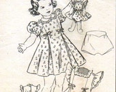 Vintage 50's Back Button Party Dress Ruffle Insets Matching Bloomers Size 2 Mail Order 2053