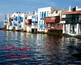 Greek Photography 8x10 photo size, Greek Little Venice on Mykonos island, Greece