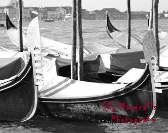Gondolas Venice, Italy Black and white photography 8x10 photo