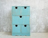 SALE -10%Aquamarine Ultramarine Green vintage  Decor, Rustic Wooden Keepsake with 5 drawers, can be personalized at your order, gift for her