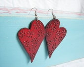 Summer must have Heartshaped bloodred earrings, floral ornament pattern, vintage red, summer fashion, strawberry