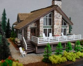 Reserved for spearlsteindesigns: Miniature Vacation Cabin Property HO Scale