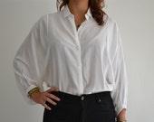 SALE SALE SALE - white batsleeve blouse size s/m