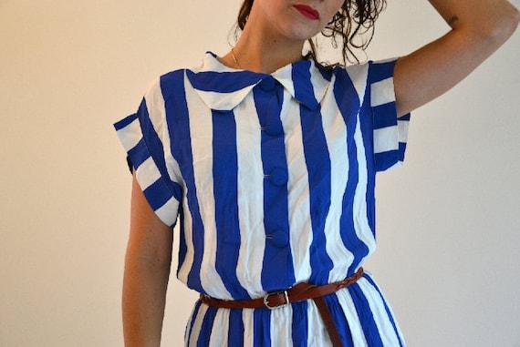 Vintage White&Blue Sailor Stripe Dress size S/ M 1970s 1980s,