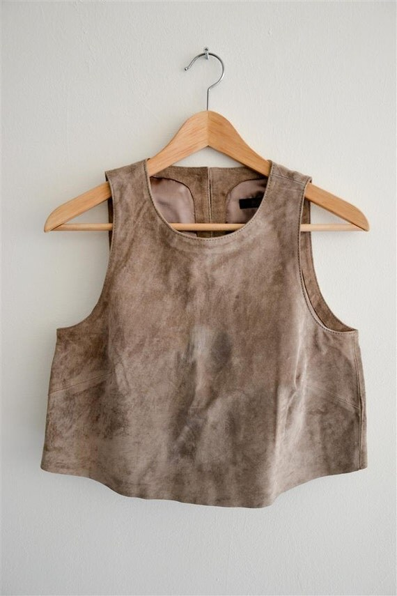 Very soft suede short style sleeveles top - Size S/M