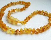 Raw Unpolished Baltic Amber Baby Teething  Necklace.  Honey  Color  Beads. Maximum Effective.