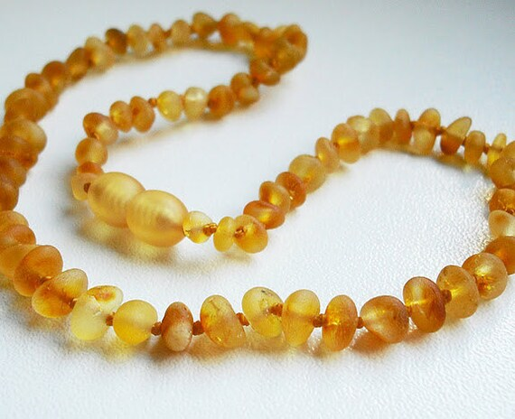 Raw Unpolished Baltic Amber Baby Teething  Necklace.  Honey  Color  Beads. Maximum Effective.