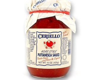 Ceriello Homemade Puttanesca (Olives and Capers) Sauce, 15oz