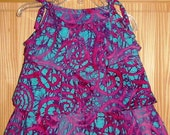 Delightful Deep Pink and Turquoise Batik Triple Ruffle Top Size 2T - Ready To Ship