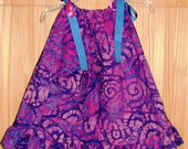 SAMPLE SALE Ruffled Pillowcase Dress Pink and Blue Batik Print Size 2T - Ready To Ship